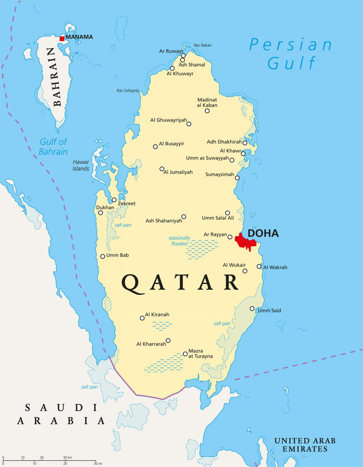 qatar map with cities