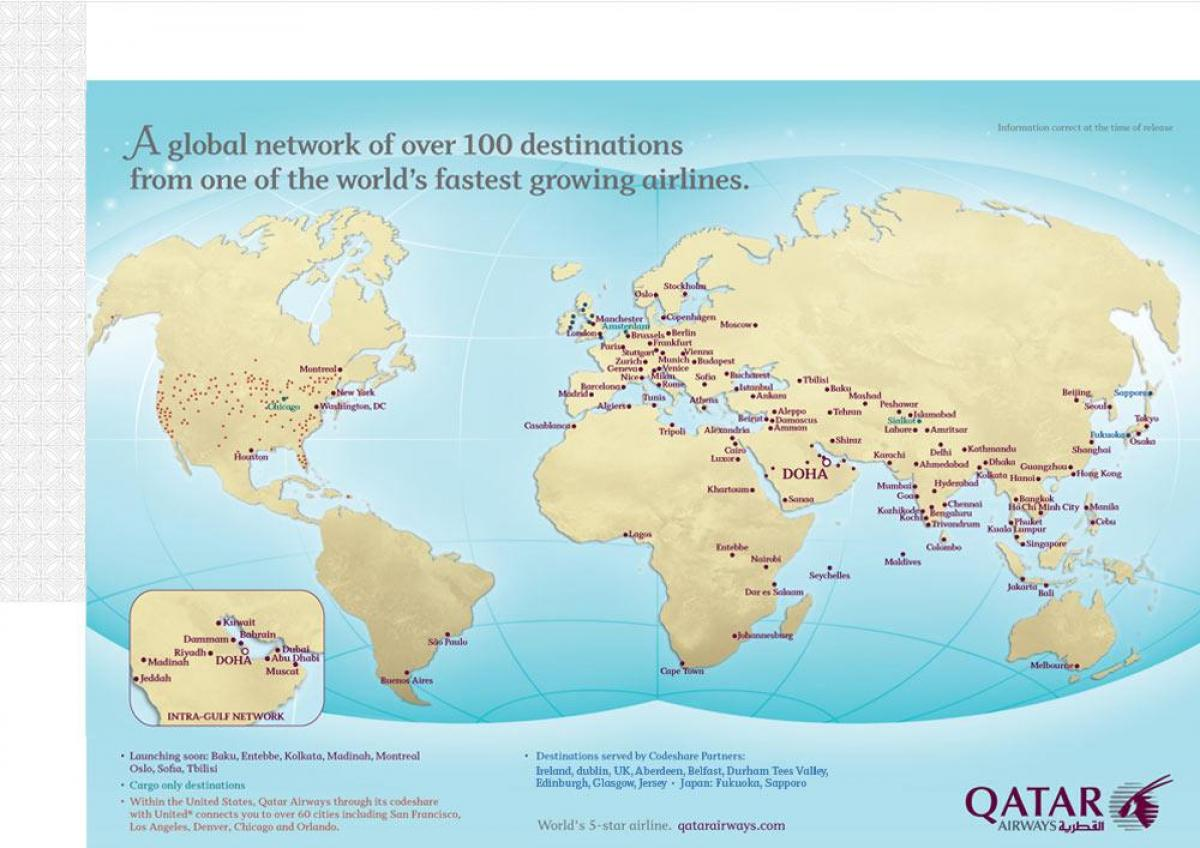 Qatar route map - Qatar flight routes map (Western Asia - Asia)