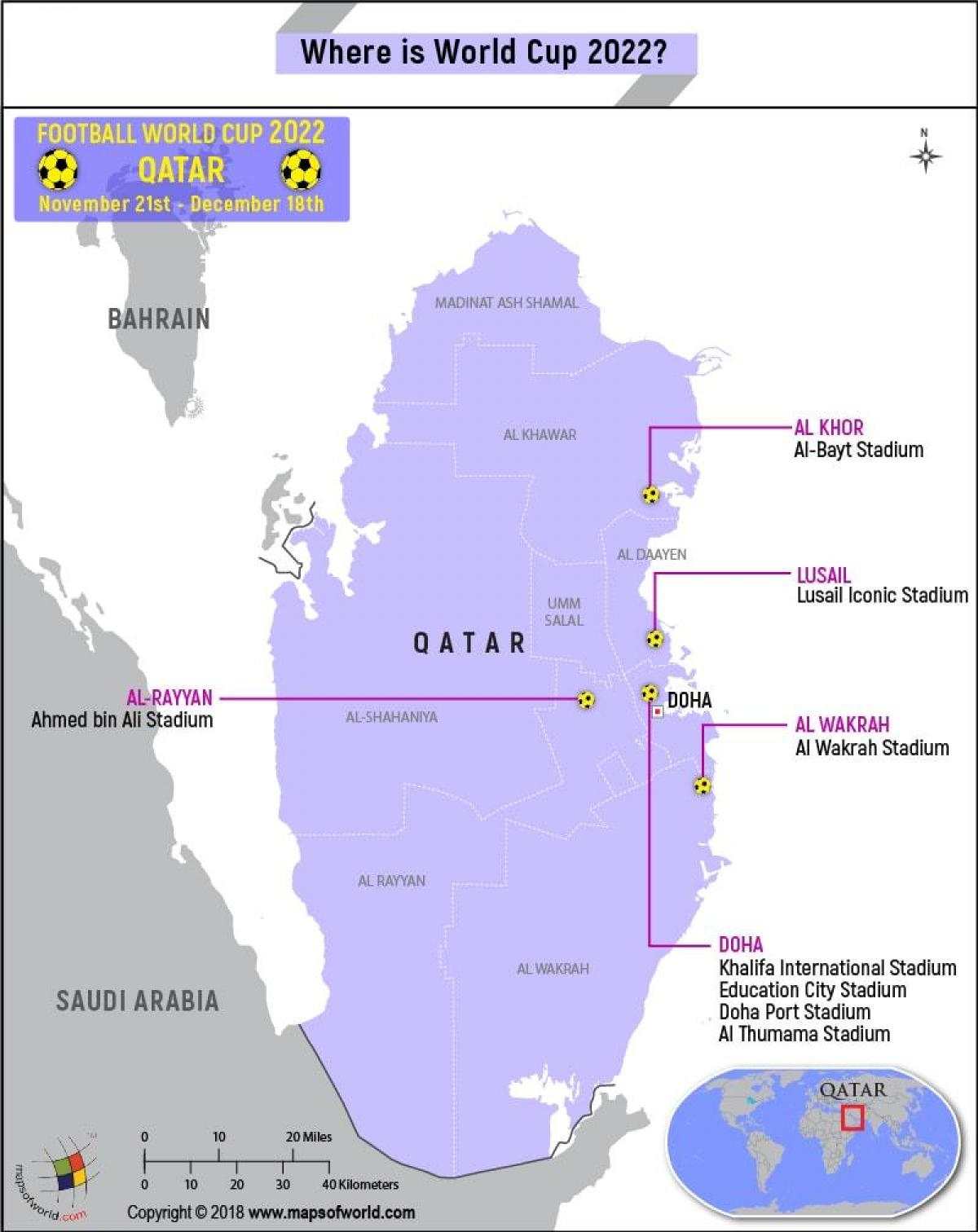 Qatar world cup stadiums map - Map of qatar world cup stadiums ... on